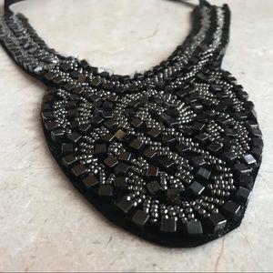 Black Beaded Bib Necklace